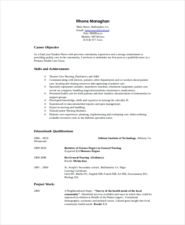 8+ Sample Nursing Student Resumes | Sample Templates