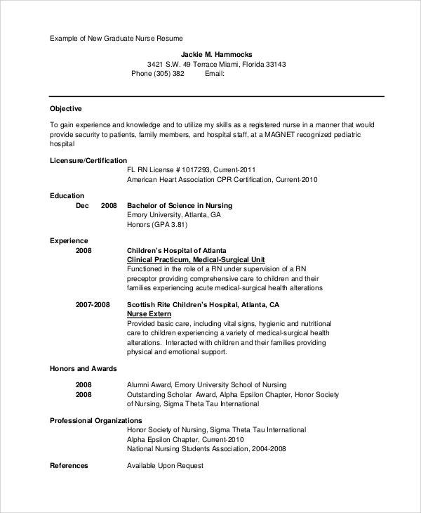 New Graduate Nurse Resume
