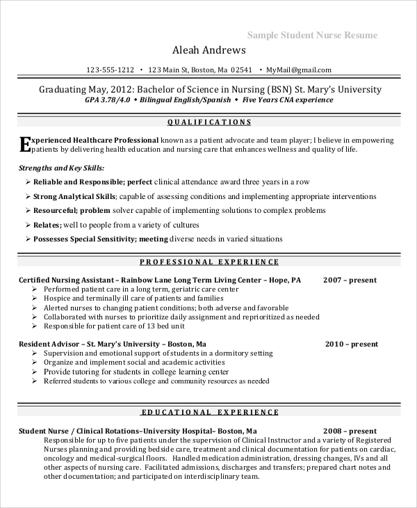 Sample Nursing Student Resume 8 Examples In Word Pdf