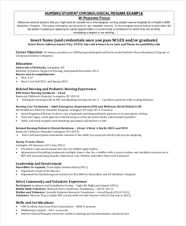 Sample Nursing Student Resume   Examples In Word Pdf