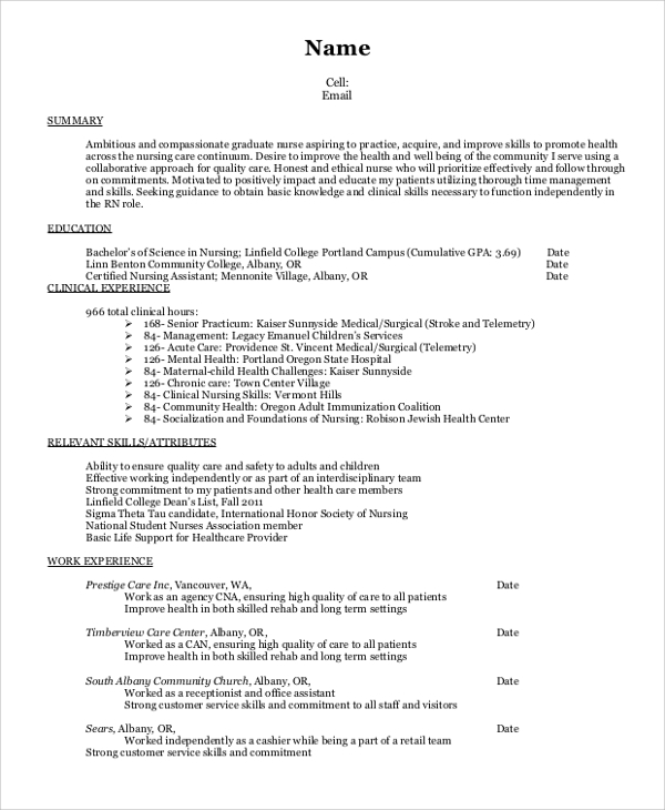 experienced nursing resume template samples with