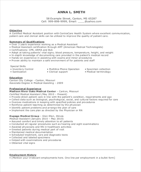 resume example for job 8 samples in word pdf