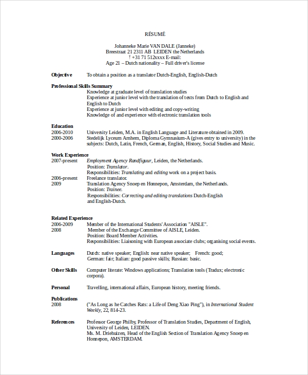 Translator-Resume-Example Japanese Resume Format Download on