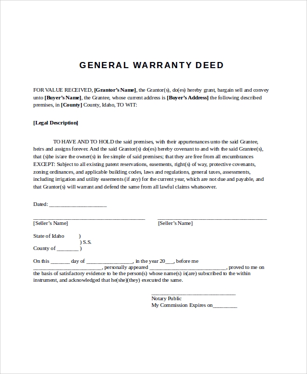 General Warranty Deed Sample - 9+ Examples in Word, PDF