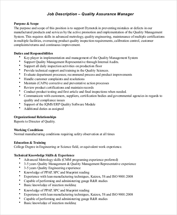 Sample Quality Assurance Job Description 10 Examples in PDF Word – Sample Engineer Job Description