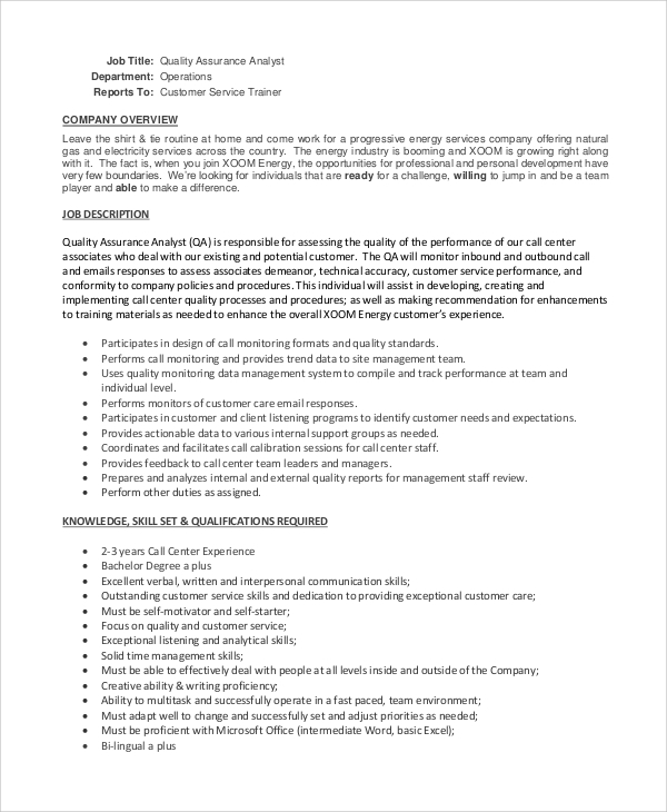 Sample Quality Assurance Job Description   Examples In Pdf Word
