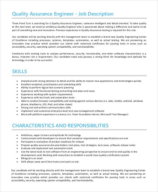 quality assurance job description - kak2tak.tk
