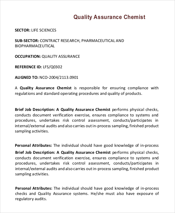 Sample Quality Assurance Job Description 10 Examples in PDF Word – Job Description Chemist