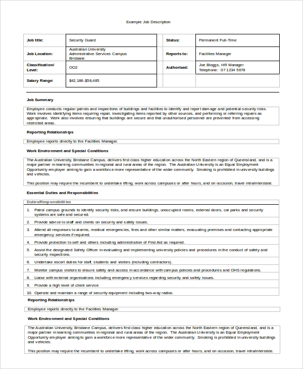 Sample Security Guard Job Description   Examples In Pdf Word
