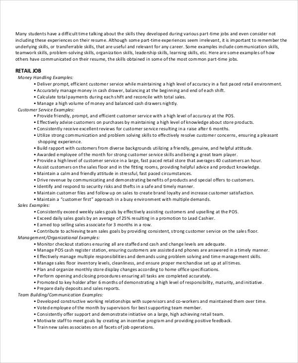 free 8  resume skills samples in ms word