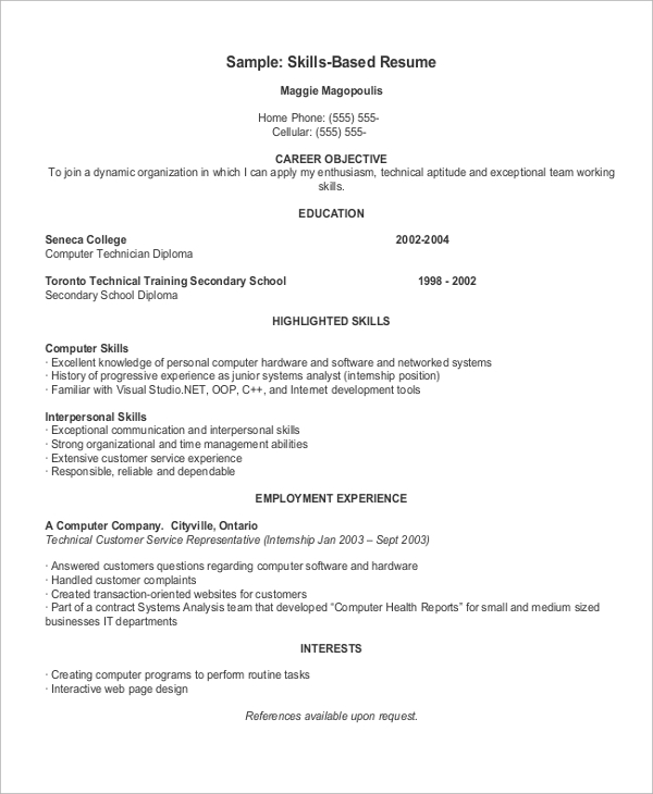 example of a skills based resume format