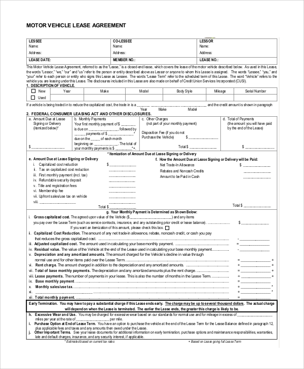 Vehicle Lease Purchase Agreement Form Example  Car Purchase Agreement With Payments