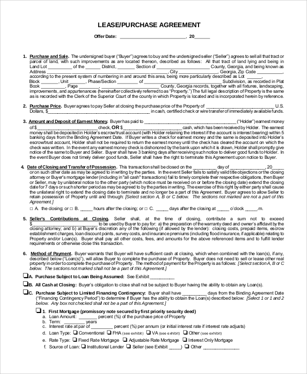 Sample Lease Purchase Agreement   Examples In Pdf Word