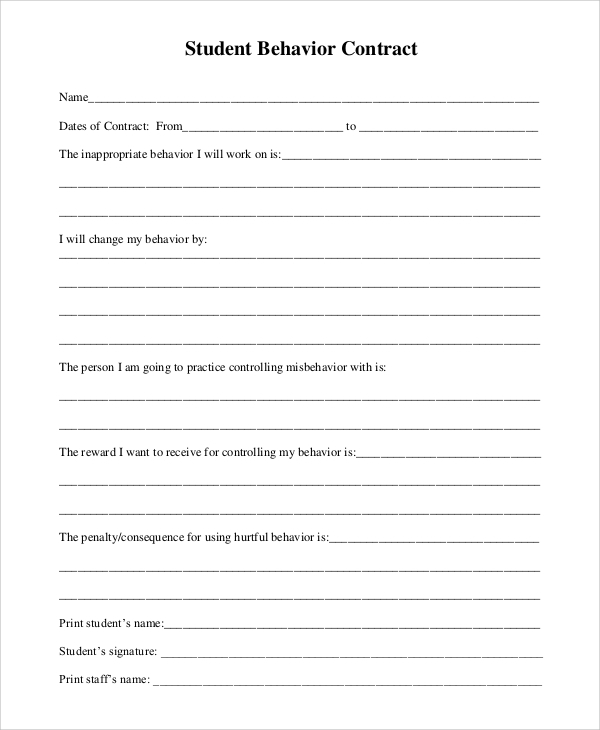 behavior contract for student