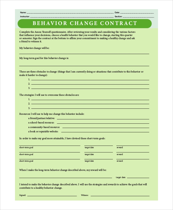 behavior change contract