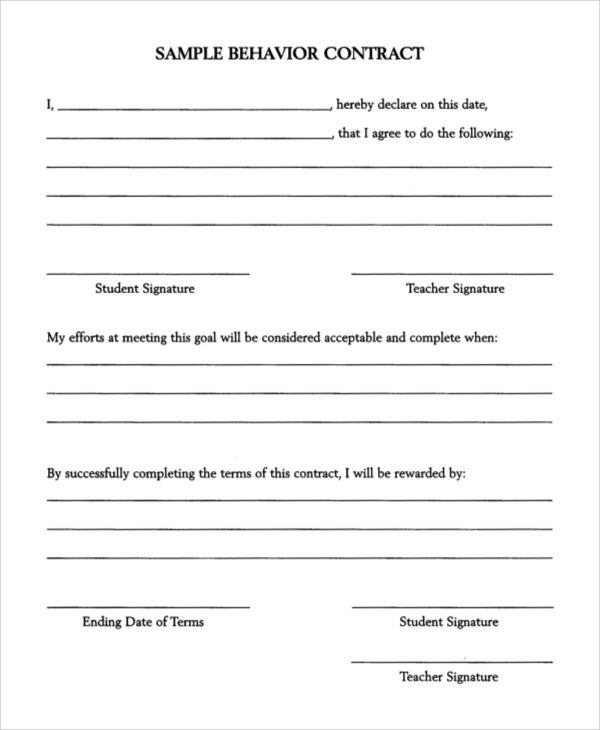 Sample Behavior Contract Printable Behavior Contract Form Sample