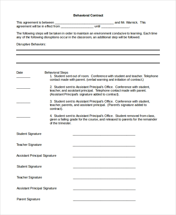 Sample Behavior Contract 10 Examples in PDF Word – Teacher Agreement Contract