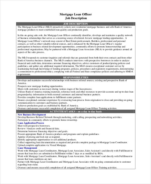 Ordinaire Mortgage Loan Officer Job Description Sample