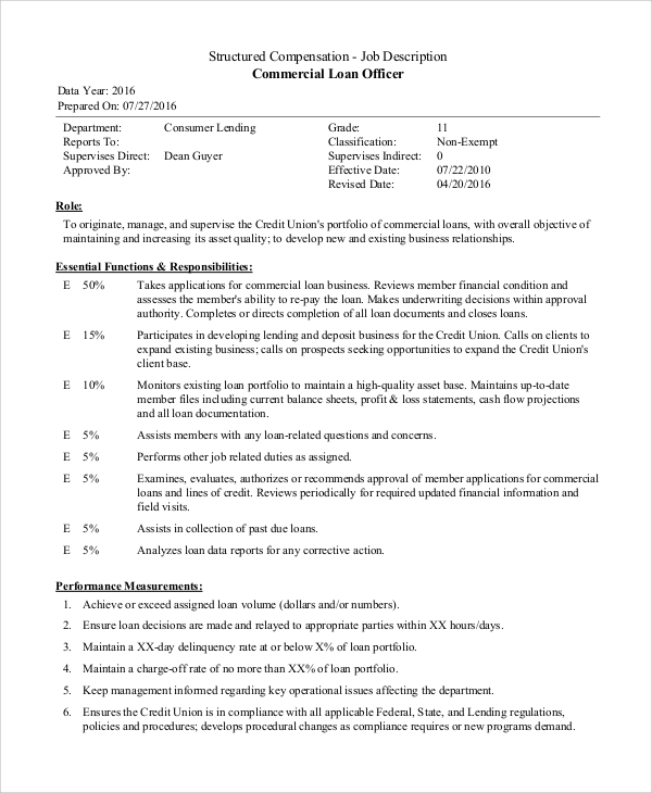 Sample Loan Officer Job Description   Examples In Pdf Word