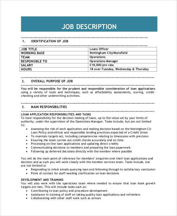 8 loan officer job description samples sample templates for Training officer job description template