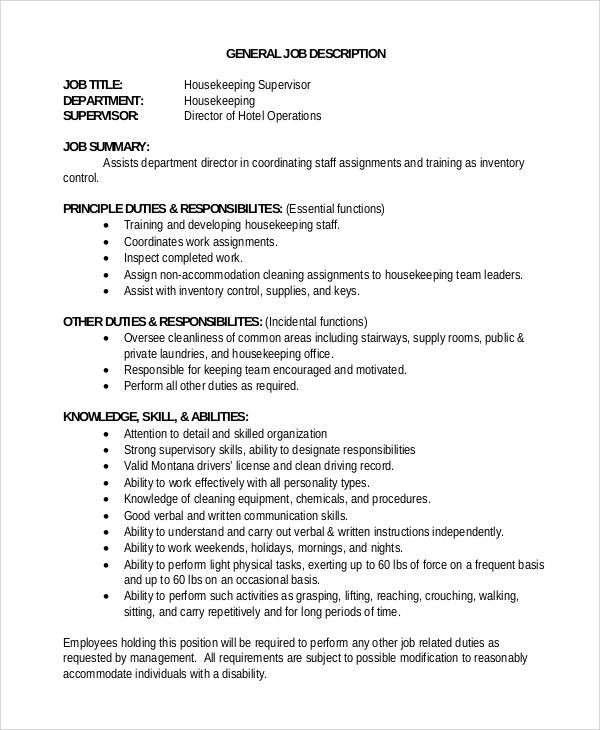 sample housekeeping job description