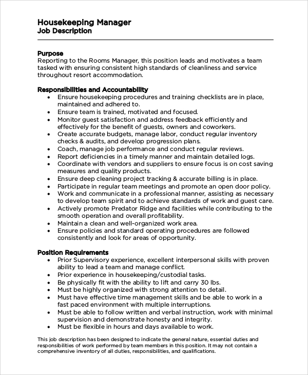 housekeeping manager job description. Resume Example. Resume CV Cover Letter
