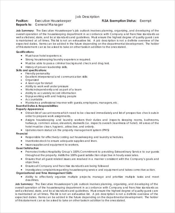 Sample Housekeeping Job Description   Examples In Pdf Word