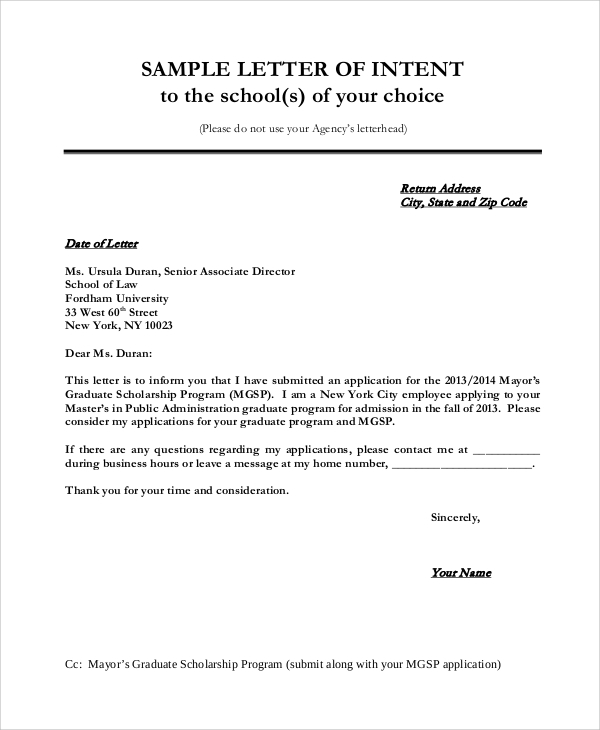 Sample Letter Of Intent   Examples In Word Pdf