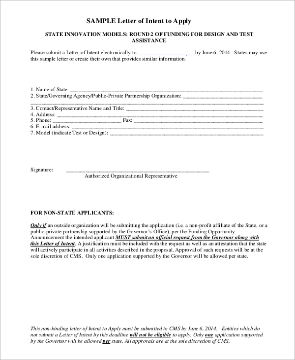 sample letter of intent to apply