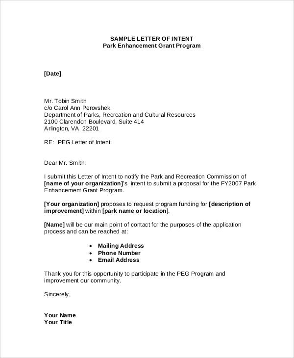 sample letter of intent for grant
