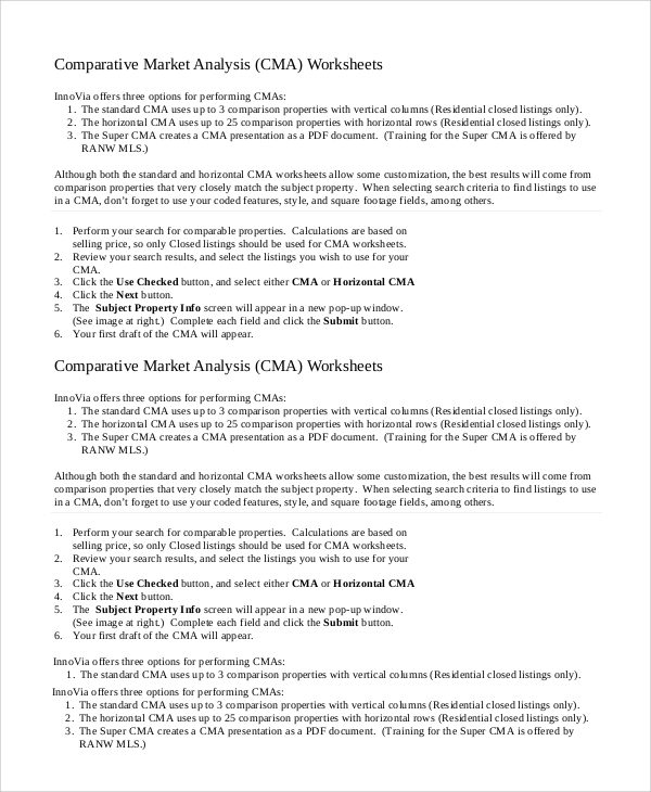sample comparative market analysis 9 examples in pdf word