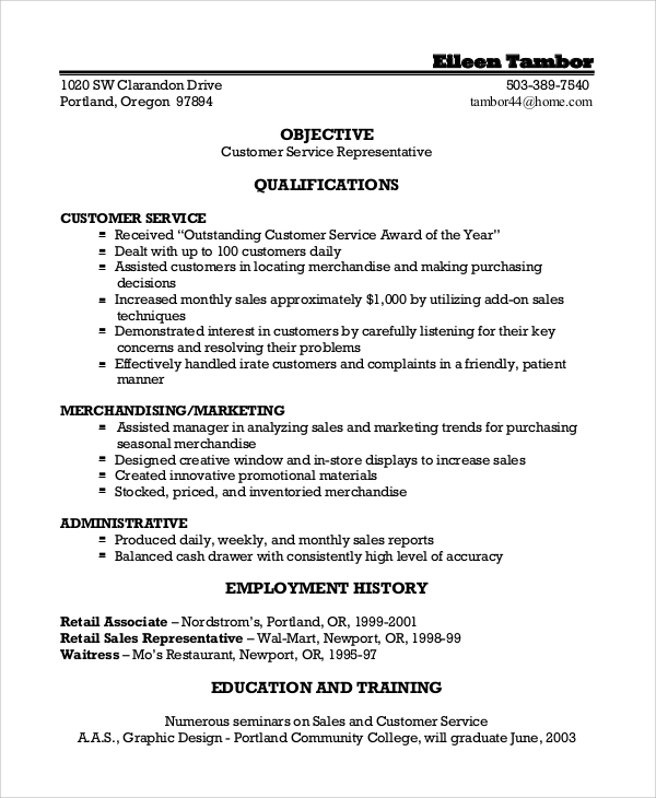 customer service resume objective