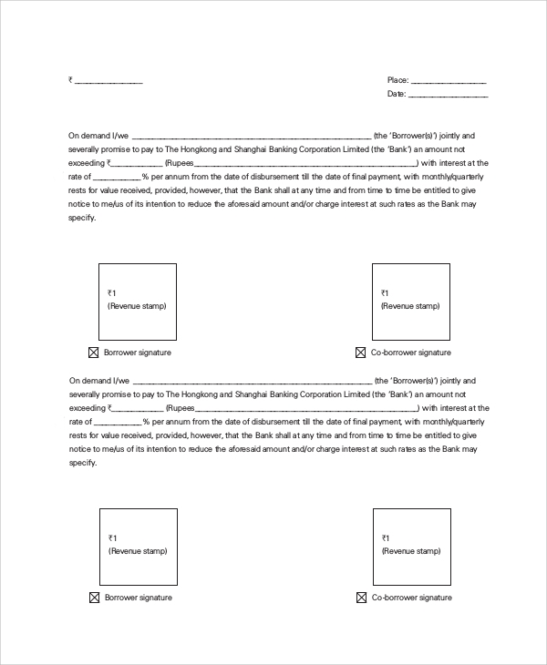 Sample Promissory Note   Examples In Pdf Word