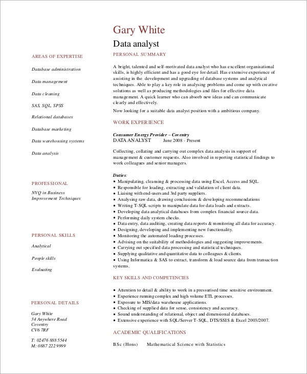 exceptionnel Experienced Data Analyst Resume Sample