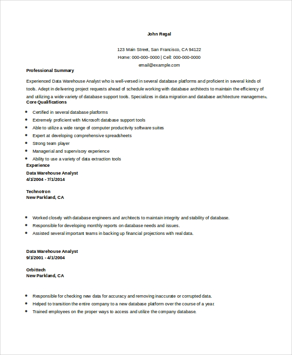 Data Warehouse Business Analyst Resume
