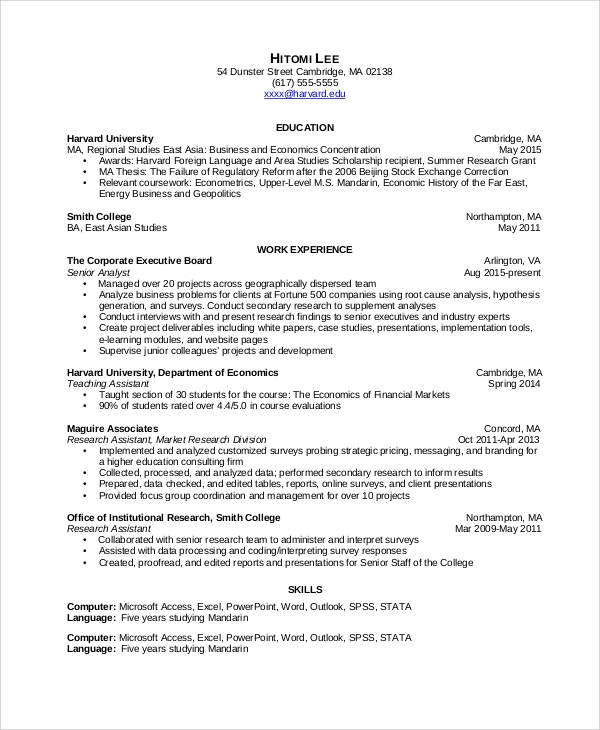sample data analyst resume