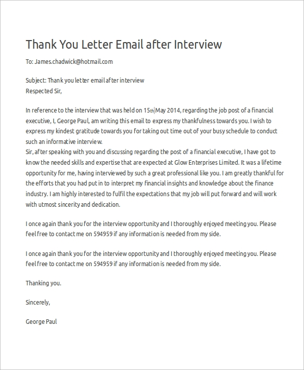 thank you letter after interview email