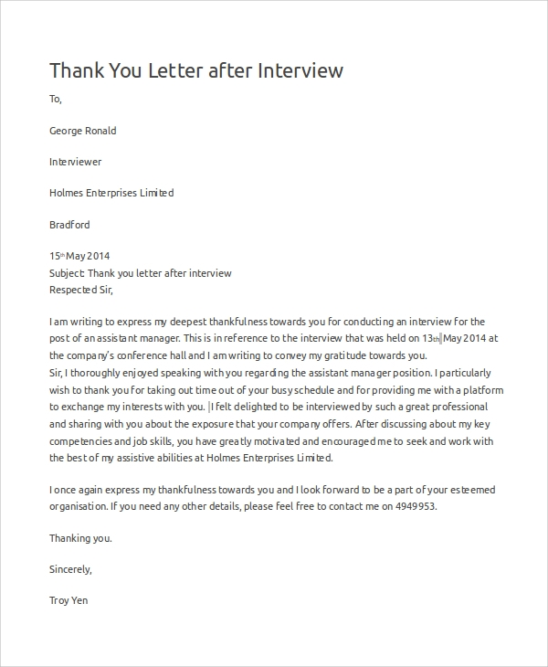 example thank you letter after interview