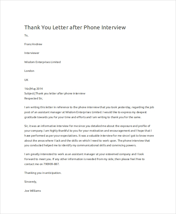 thank you letter after phone interview