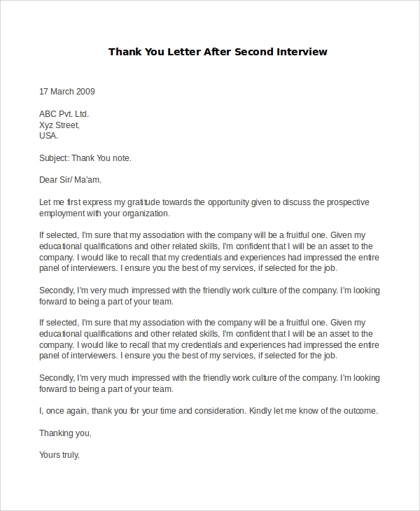 thank you letter after second interview