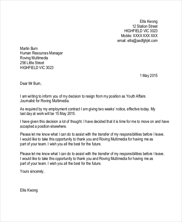 Formal 2 Week Notice Letter Resignation  Letter Of Resignation