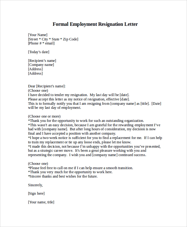 Formal Resignation Letter Sample - 8+ Examples In Word, Pdf