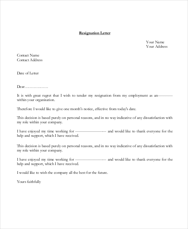 formal tender resignation letter