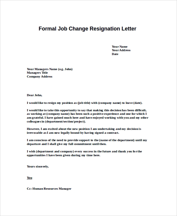 Resignation Letter For New Job Current Job Resignation Letter – Resignation Format Word