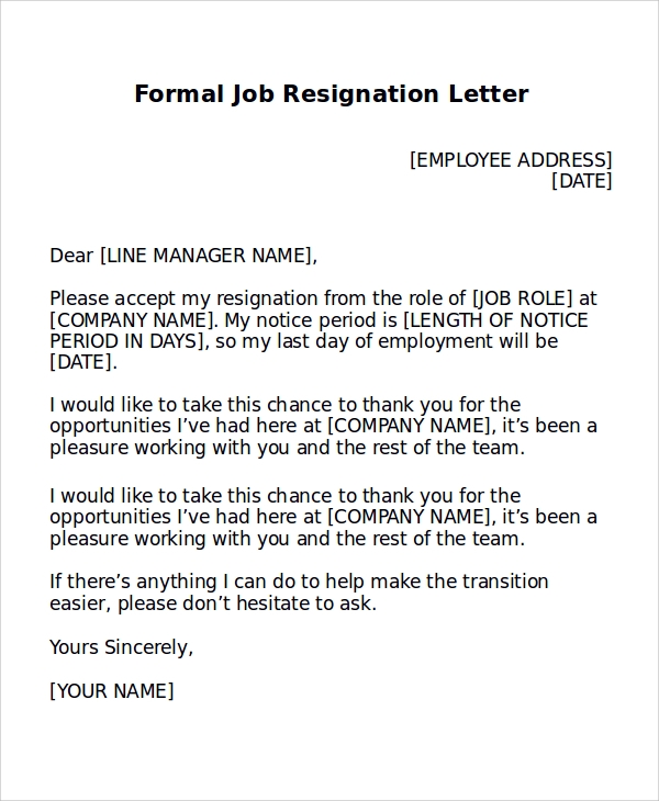 8 formal resignation letter samples sample templates formal job resignation letter example expocarfo Choice Image