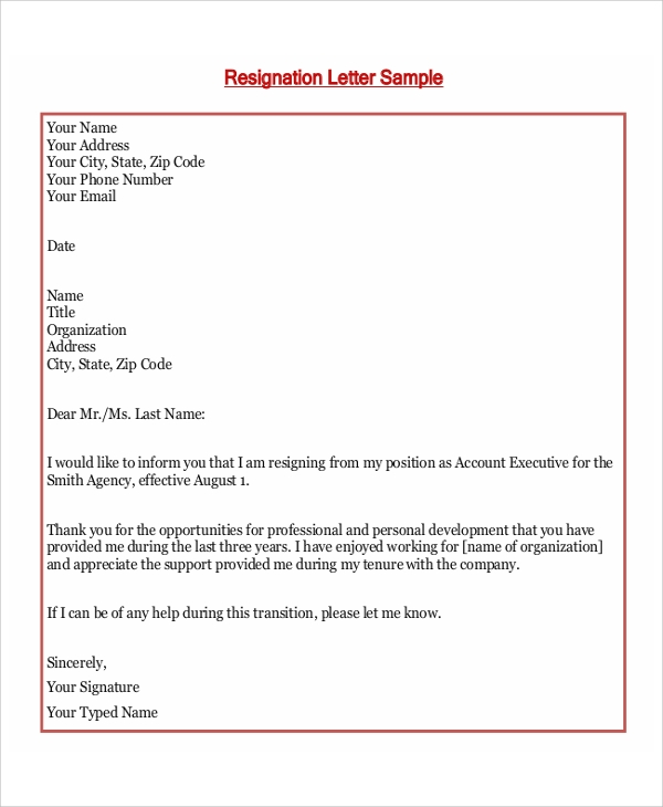 sample formal resignation letter