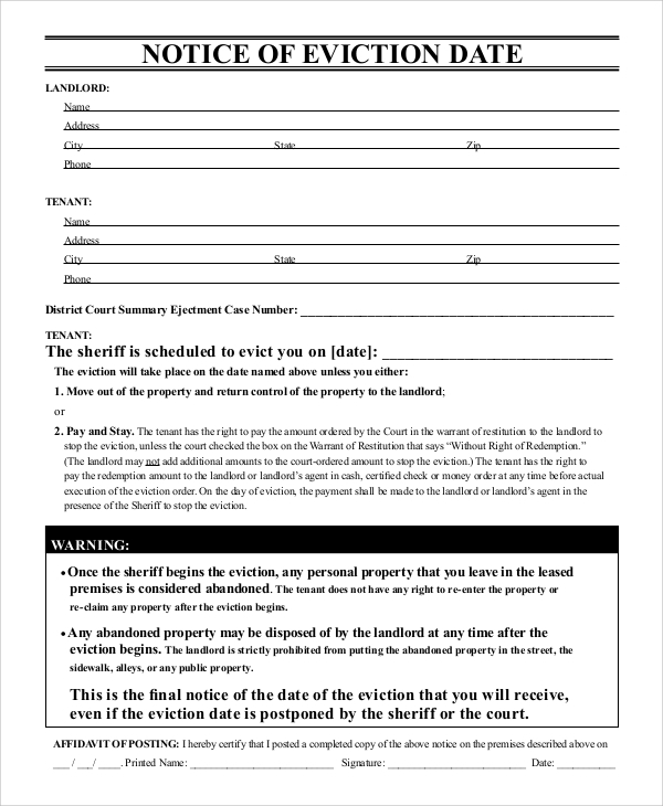 Sample Eviction Notice Form - 8+ Examples in Word, PDF