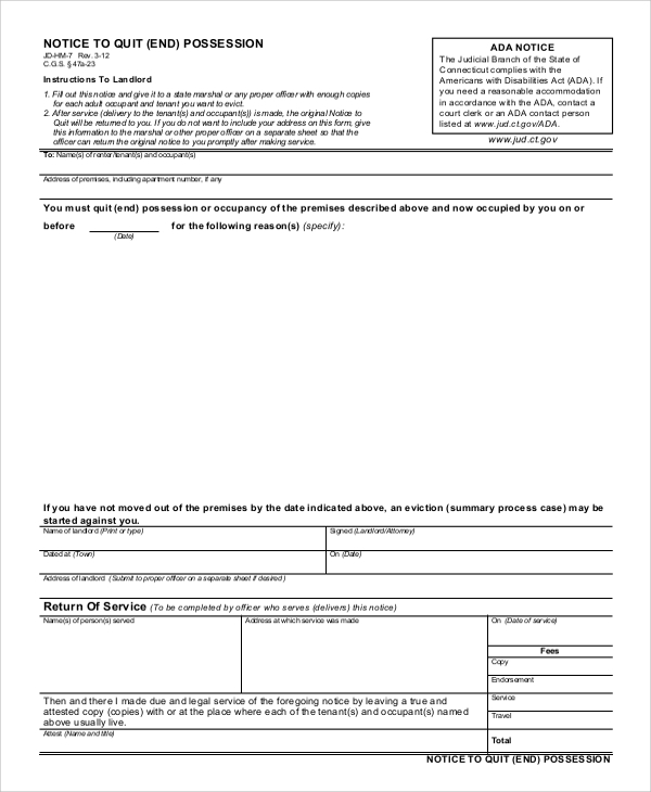 Sample Eviction Notice Form   Examples In Word Pdf