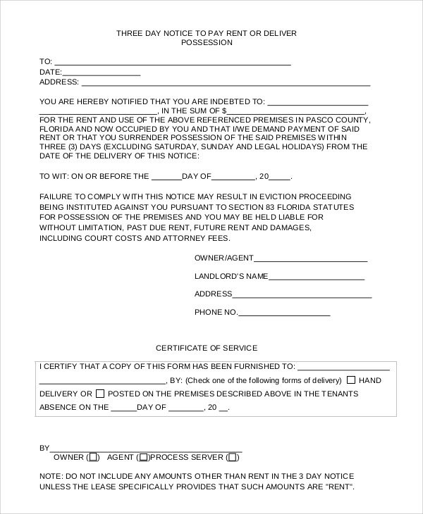 8 sample eviction notice forms sample templates eviction notice to pay rent or deliver yelopaper Images