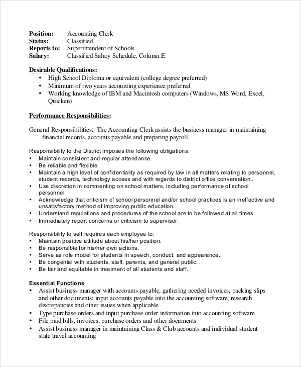 Sample Accounting Clerk Job Description   Examples In Pdf